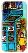 Wilensky's Counter With School Bus Montreal Street Scene IPhone Case