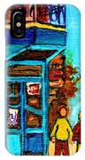 Wilensky's Lunch Counter With School Bus Montreal Street Scene IPhone Case