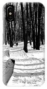 Winter Boardwalk In Black And White IPhone Case