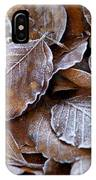 Winter Brown Leaves Powdered With Frost IPhone Case