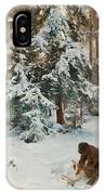 Winter Landscape With Hunters And Dogs IPhone Case