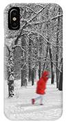 Winter Landscape With Walking Gir In Red. Blac White Concept Gra IPhone Case