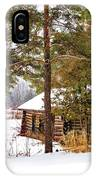 Winter Log Cabin 3 - Paint IPhone Case