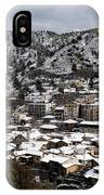 Winter Mountain Village Landscape With Snow IPhone Case