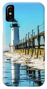 Winter Reflection At Manistee Light IPhone Case