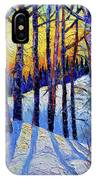 Winter Woodland Sunset Modern Impressionism Palette Knife Oil Painting IPhone Case