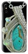 Wire-wrapped Gem Silica Crysocolla Pendant In Sterling Silver With Ethiopian Welo Opals Gmsipss1 IPhone Case
