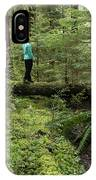 Woman On A Moss Covered Log In Olympic National Park IPhone Case