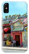 Woman Sits Outside Chinese Temple With Urn And Deity Statues Pattani Thailand IPhone Case