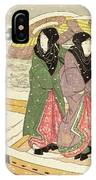 Women Walking Over A Bridge In Snow IPhone Case