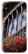 Wood Beams Red Flowers And Blue Window IPhone Case