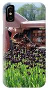 Woodburn Oregon - Tractor And Field Of Tulips IPhone Case