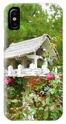 Wooden Bird House On A Pole 3 IPhone Case