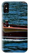 Wooden Boat Waves On Tahoe IPhone Case