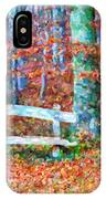 Wooden Park Bench In Dry Leaves  IPhone Case