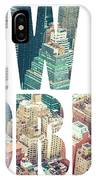 Word Usa Manhattan Skyline At Sunset, New York City  IPhone Case