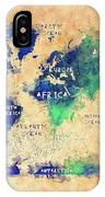 World Map Oceans And Continents Art IPhone Case