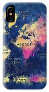 World Map Oceans And Continents IPhone Case
