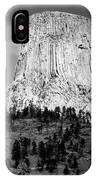 Wyoming Devils Tower National Monument With Climbers Bw IPhone Case