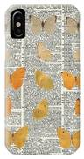 Yellow Butterflies Over Dictionary Book Page IPhone Case by Anna W