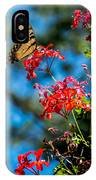 Yellow Butterfly On Red Flowers IPhone Case