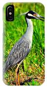 Yellow Crested Night Heron Catches A Fiddler Crab IPhone Case