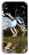 Yellow Crowned Night Heron Catches A Crab IPhone Case