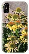 Yellow Echinacea, Straw Flowers Gray Stone Background 2 9132017  IPhone Case