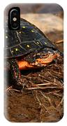 Yellow-spotted Turtle Crawling Through Wetland IPhone Case