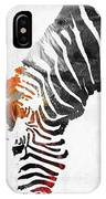 Zebra Black White And Red Orange By Sharon Cummings  IPhone Case