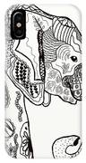 Zentangle Elephant IPhone Case by Becky Herrera