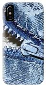 Zipper In Blue IPhone Case