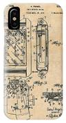 1931 Self Winding Watch Patent Print Antique Paper IPhone Case
