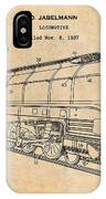 1937 Jabelmann Locomotive Antique Paper Patent Print IPhone Case