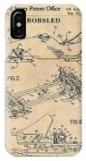 1982 Bobsled Antique Paper Patent Print  IPhone Case