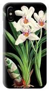 Vintage Orchid Print On Black Paperboard IPhone Case