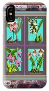 Antique Orchids Quatro On Rusted Metal And Weathered Wood Plank IPhone Case
