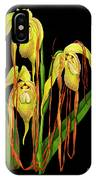 Vintage Orchid Print On Black Paperboard IPhone Case