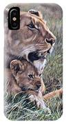 A Quiet Moment Lioness And Lion Cubs IPhone Case by Alan M Hunt