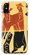 Antelope Black Ivory Woodcut9 IPhone Case