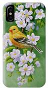 Female American Goldfinch And Apple Blossoms IPhone Case