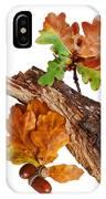 Autumn Oak Leaves And Acorns On White IPhone Case