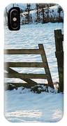 Broken Fence In The Snow At Sunset IPhone Case