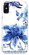 Chinoiserie Blue And White Pagoda With Stylized Flowers Butterflies And Chinese Chippendale Border IPhone Case