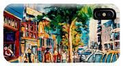 Colorful Cafe Painting Irish Pubs Bistros Bars Diners Delis Downtown C Spandau Montreal Eats         IPhone Case