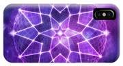 Cosmic Purple Geometric Seed Of Life Crystal Lotus Star Mandala IPhone Case