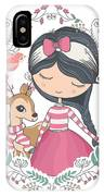 Cute Girl And Little Deer Vector Design IPhone X Case