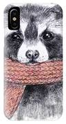 Cute Raccoon With Scarf , Sketchy IPhone X Case