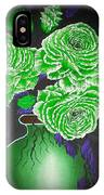 Dark And Delicious Roses  In Green IPhone Case