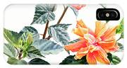 Double Orange Hibiscus With Buds IPhone Case
